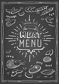 Retro meat menu icons on chalkboard with lamb chops sausage