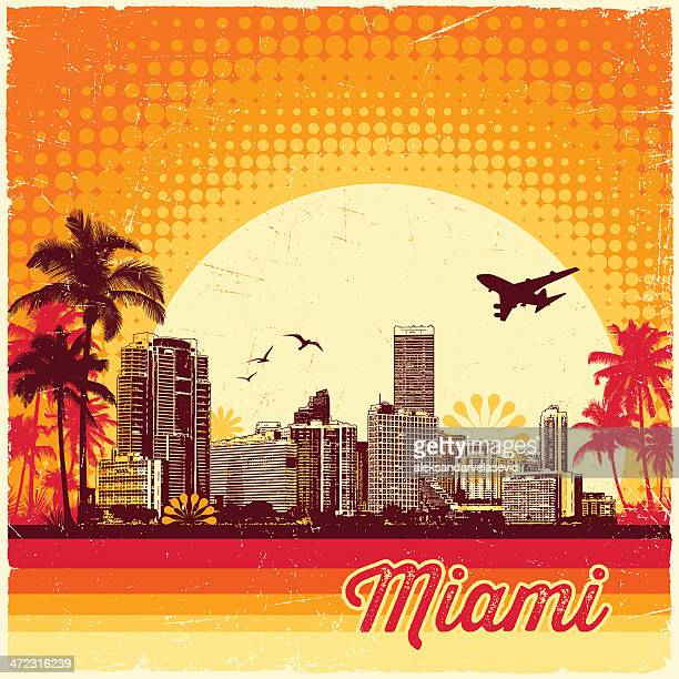 illustrazioni stock, clip art, cartoni animati e icone di tendenza di vintage skyline di miami - miami
