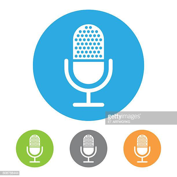 retro microphone symbol icon - microphone transmission stock illustrations