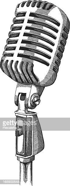 retro microphone - microphone stock illustrations