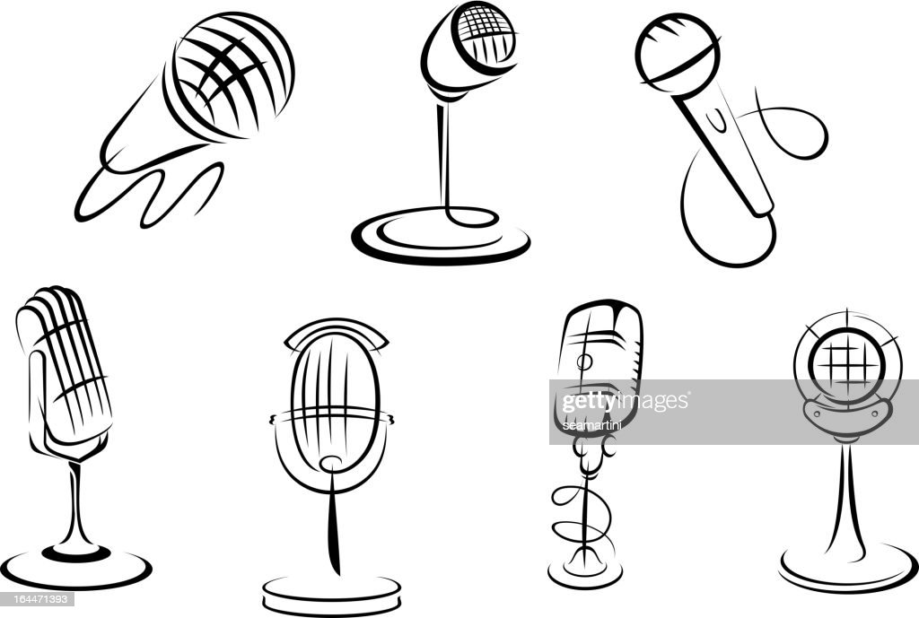 Retro microphones sketches