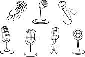 Retro microphones sketches