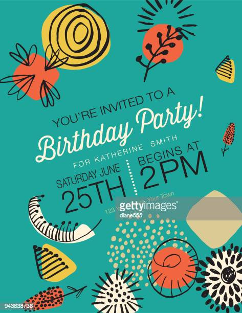 illustrations, cliparts, dessins animés et icônes de retro mid century modern style birthday party invitation - joyeux anniversaire