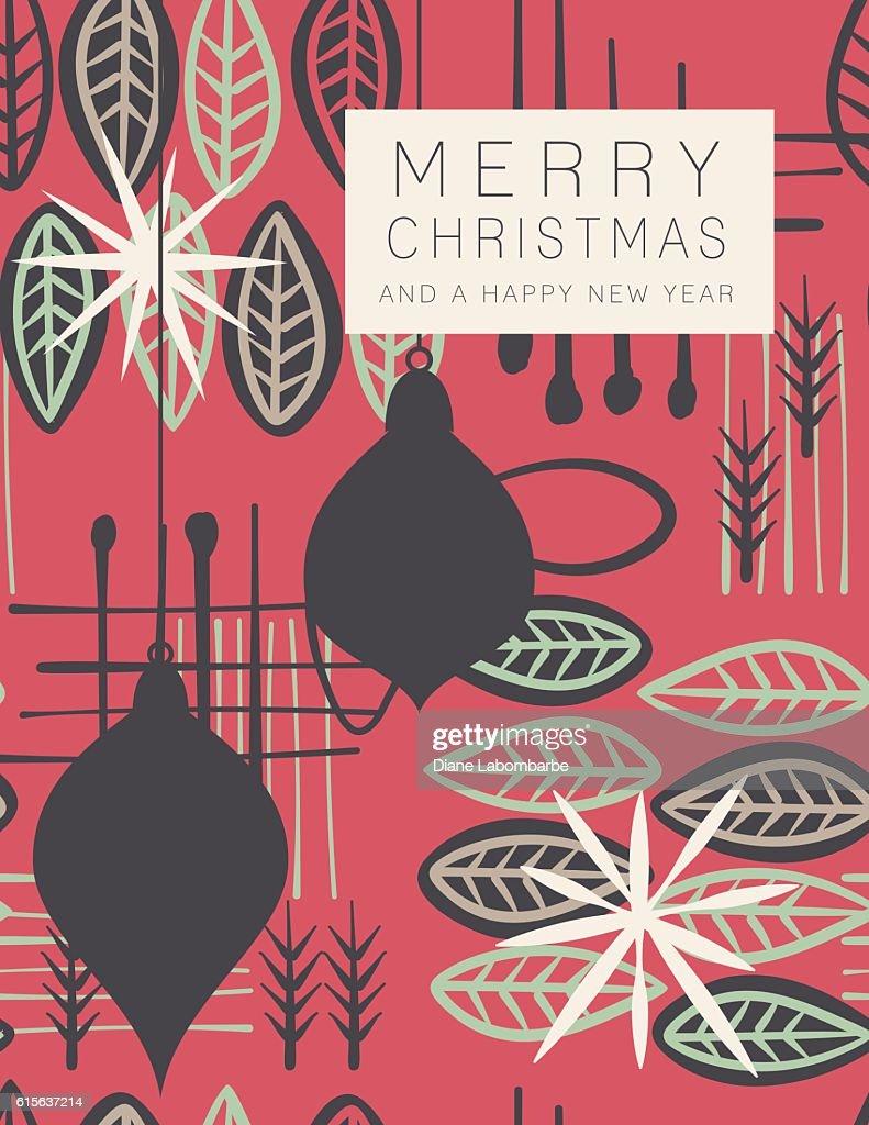 retro mid century modern style holiday card vector art