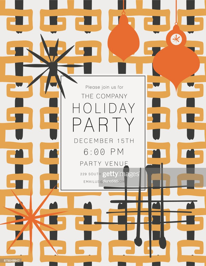Retro Mid Century Modern Style Holiday Party Invitation Vector Art ...