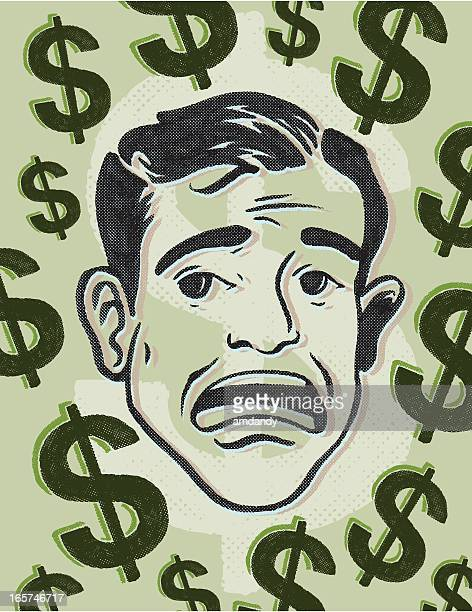retro monatary fears - phobia stock illustrations, clip art, cartoons, & icons