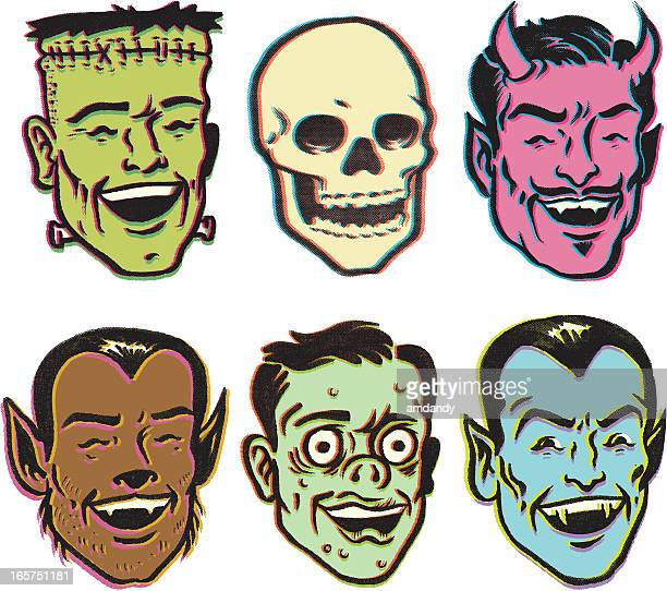 retro monster party - zombie stock illustrations, clip art, cartoons, & icons