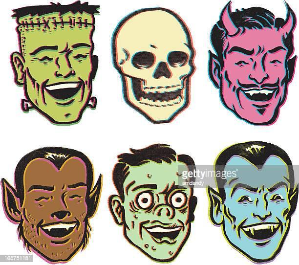 ilustraciones, imágenes clip art, dibujos animados e iconos de stock de monster fiesta retro - monstruo