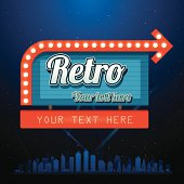 Retro motel sign with copyspace