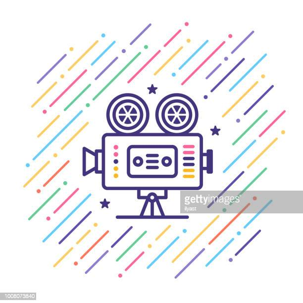 Retro Movie Camera Line Icon