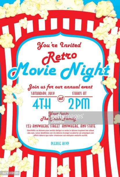 Retro-Filmnacht Einladung design-Vorlage leuchtende Rot und Weiß