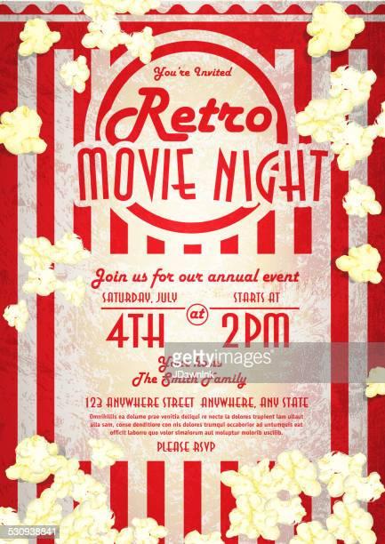 retro movie night invitation design template popped corn - movie theater stock illustrations