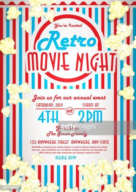 Retro-Filmnacht Einladung design-Vorlage Rote und blaue Streifen