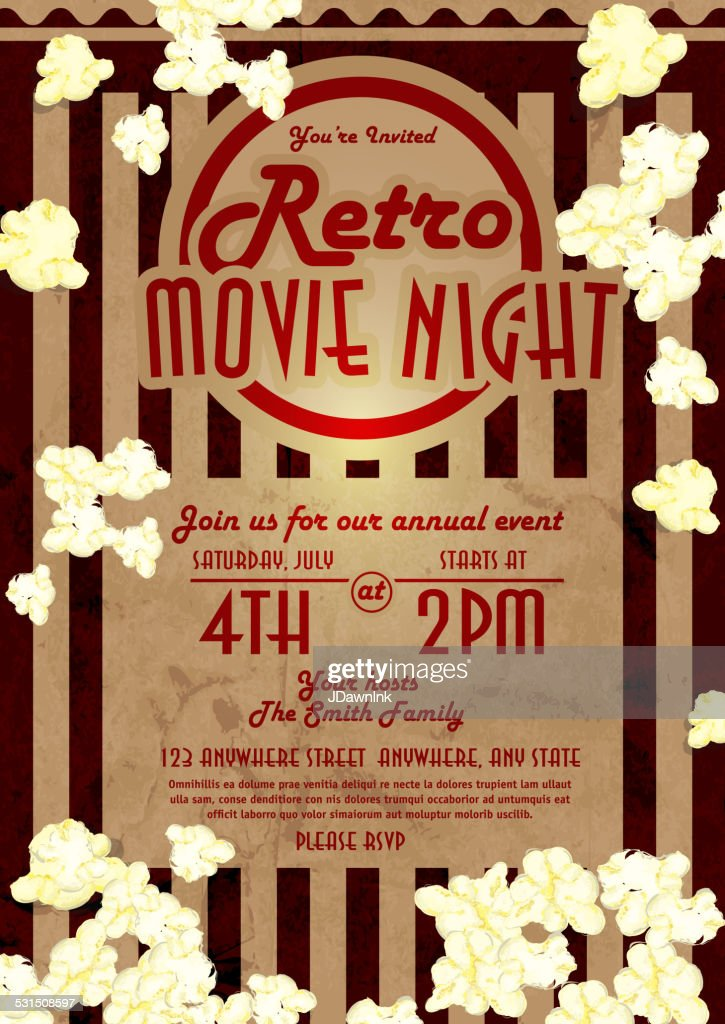Retro movie night invitation design template vector art getty images retro movie night invitation design template vector art stopboris Image collections