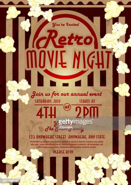 Retro movie night invitation design template