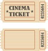 Retro movie ticket, movie ticket icon.