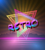 Retro Music Abstract Poster Cover 1980s Style Background. Neon D