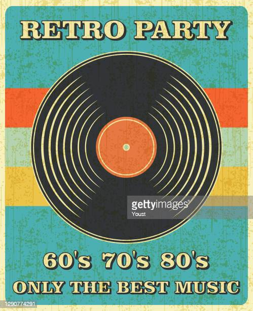 レトロ音楽とヴィンテージビニールレコードポスター レトロデシッグスタイル。ディスコパーティー60年代、70年代、80年代。 - アナログレコード点のイラスト素材/クリップアート素材/マンガ素材/アイコン素材