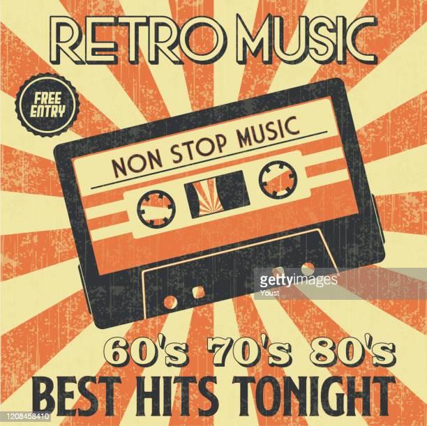 ilustrações, clipart, desenhos animados e ícones de retro music party e vintage music cassette poster no estilo retro desigh. festa disco 60, 70, 80. - misturando