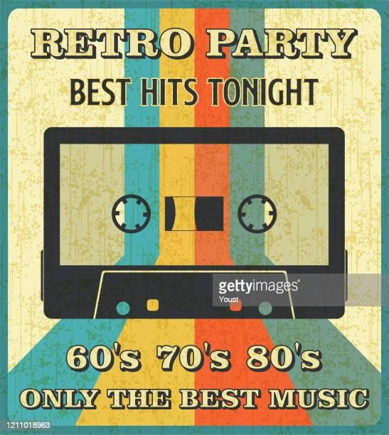 illustrazioni stock, clip art, cartoni animati e icone di tendenza di retro music cassette tape poster in retro design style. - rock formation