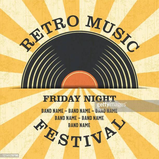 レトロ音楽祭とヴィンテージビニールレコードポスター レトロデシッグスタイル。 - アナログレコード点のイラスト素材/クリップアート素材/マンガ素材/アイコン素材