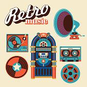 Retro music. Vector illustration.