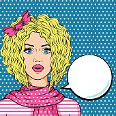 Retro naive blonde girl with speech bubble comic pop art