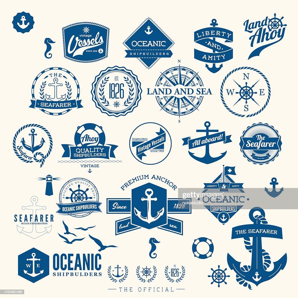 retro nautical badges and labels