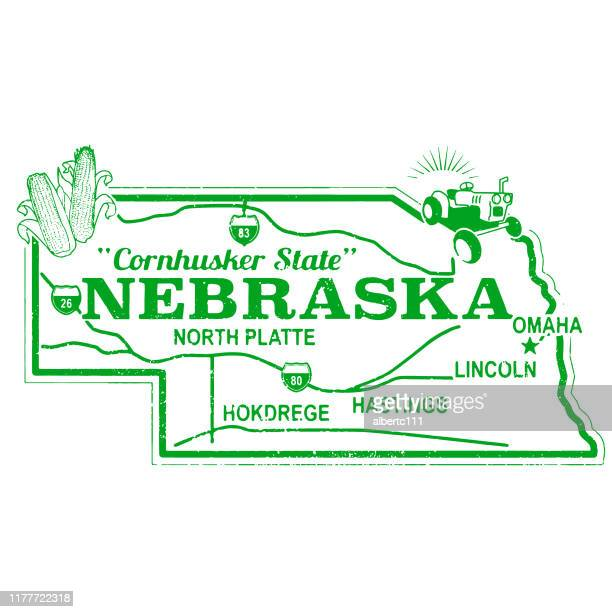 retro nebraska travel stamp - lincoln nebraska stock illustrations
