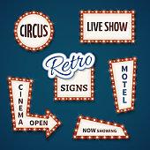 Retro neon bulb vector signs set. Cinema, live show, open
