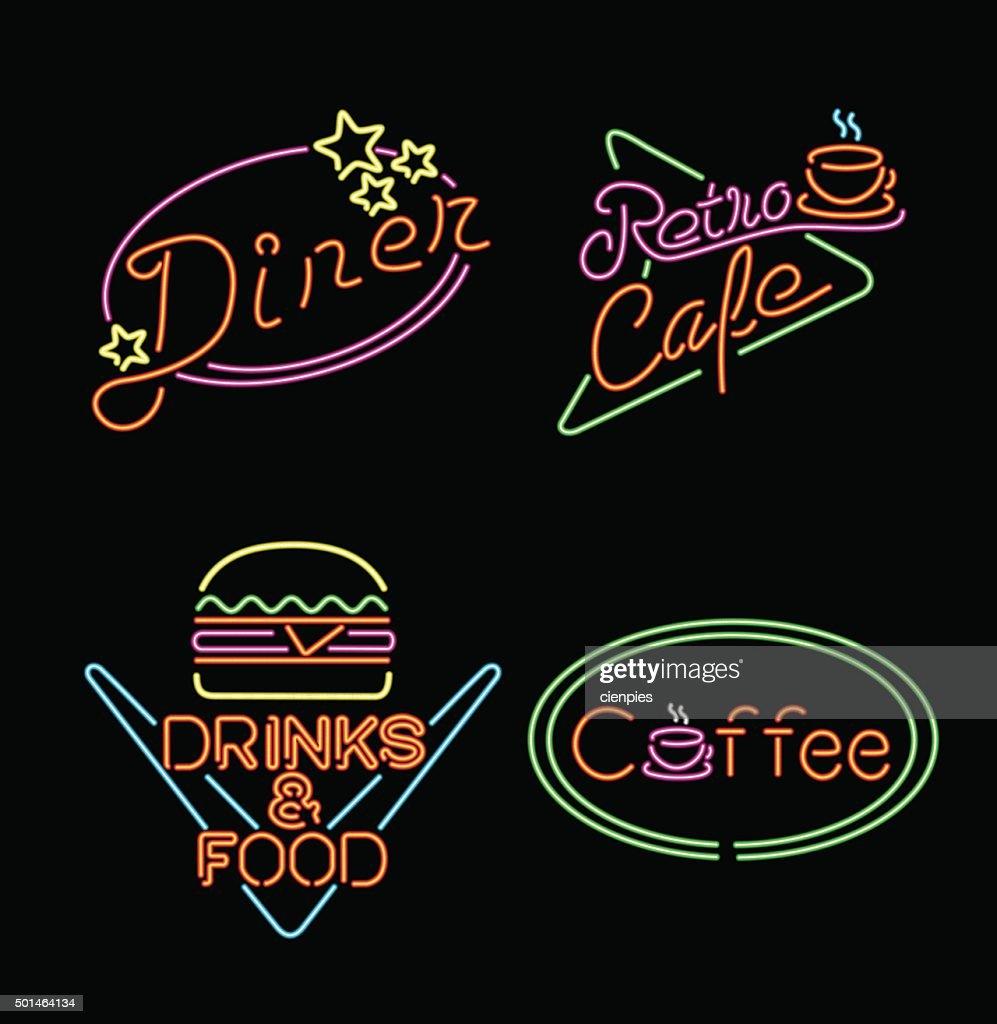 Retro neon light sign set food coffee drink