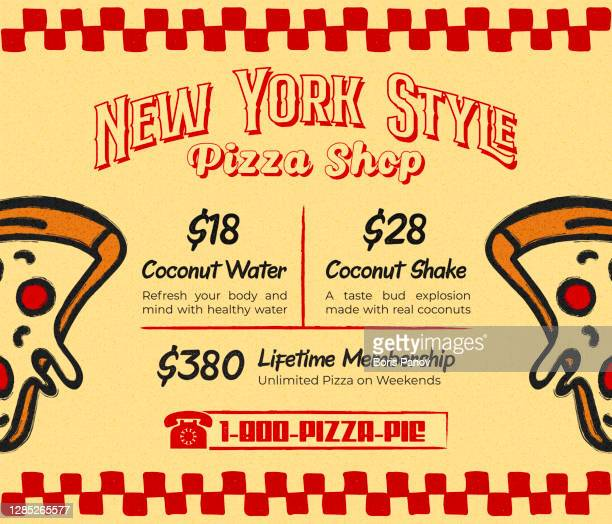 retro new york style pizza promo menu for pizzeria restaurant or vintage bistro with pepperoni pizza slices - menu stock illustrations