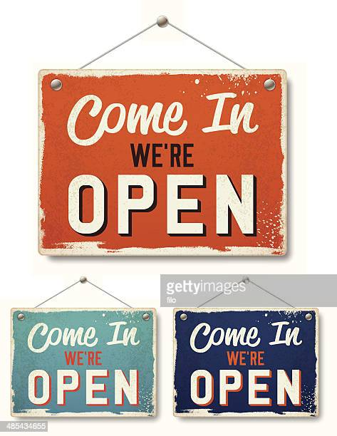 retro open business signs - placard stock illustrations