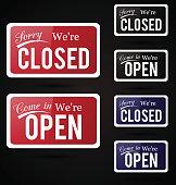 Retro open - close signs.