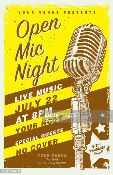 retro open mic night poster design template with vintage microphone - flyer leaflet stock illustrations