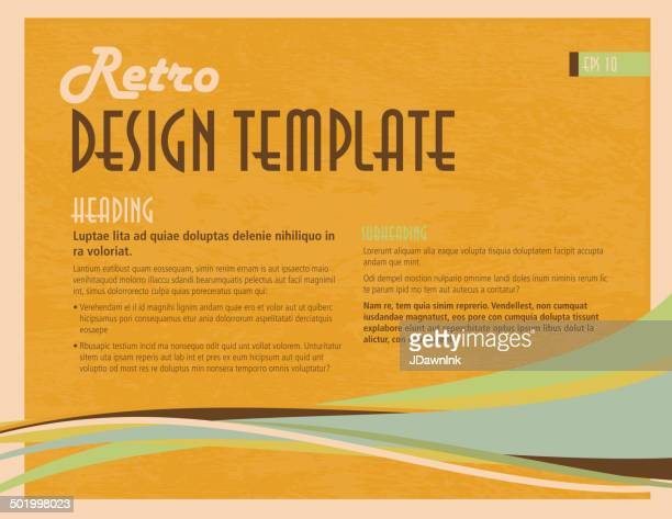retro orange and blue presentation template with sample text layout - generic description stock illustrations, clip art, cartoons, & icons