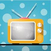 Retro Orange Television, TV Illustration