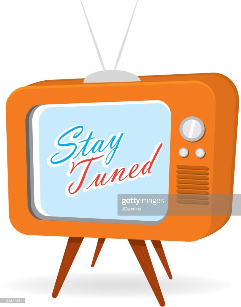 Retro orange tv with screen with stay tuned message