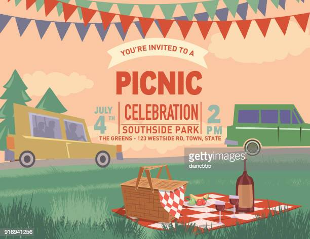 retro outdoors picnic cartoon with nature and trees - picnic stock illustrations