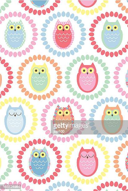 Retro Owl Repeat Pattern