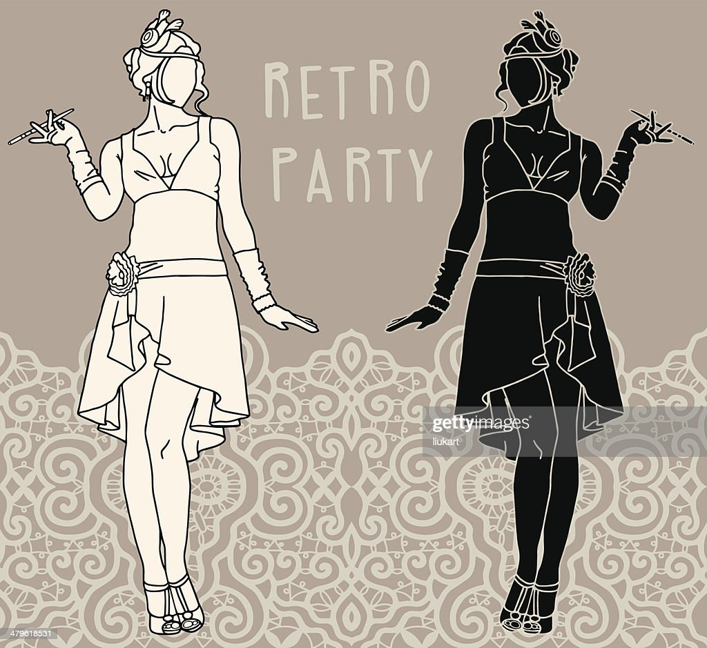 Retro party invitation design. Flapper girls set
