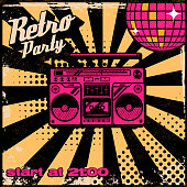 Retro party poster template with boombox on grunge background.