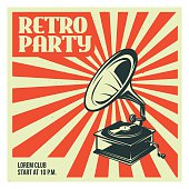 Retro party poster template with old gramophone. Vector vintage illustration.