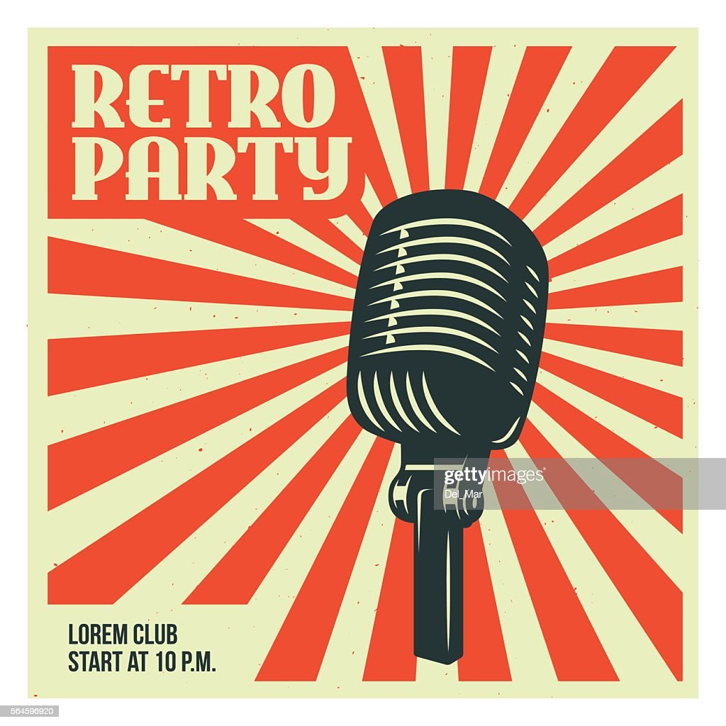 Retro party poster template with old microphone. Vector vintage illustration.
