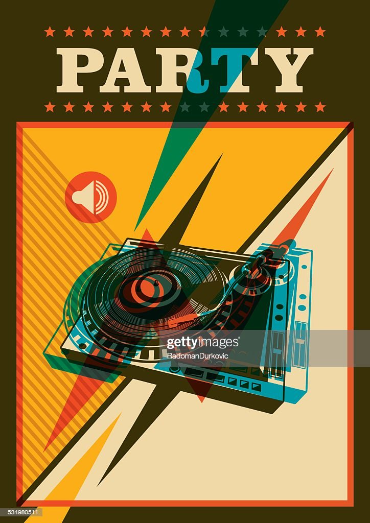Retro party poster with turntable.