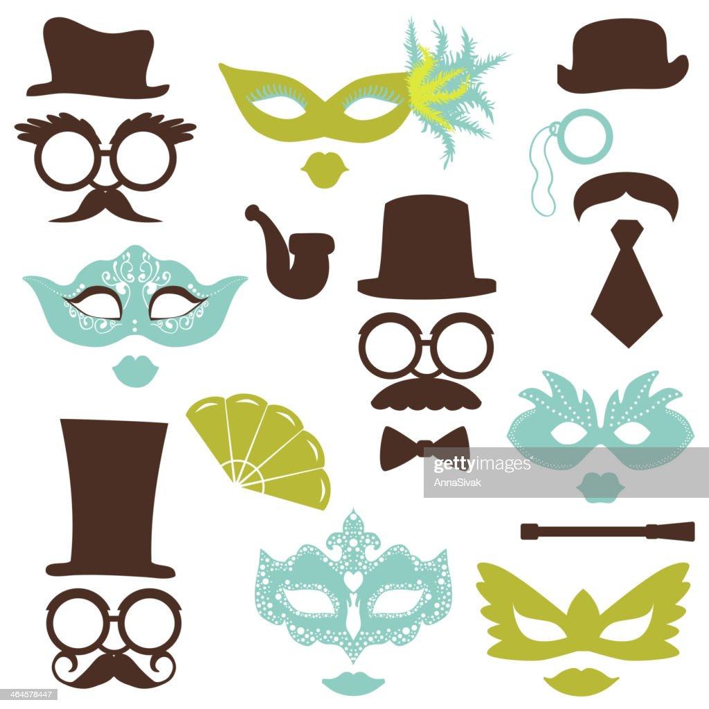 Retro Party set - Glasses, hats, lips, mustaches, masks