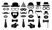 Retro party set. Glasses, hats, lips, mustaches, tie, monocle, icons. vector illustration