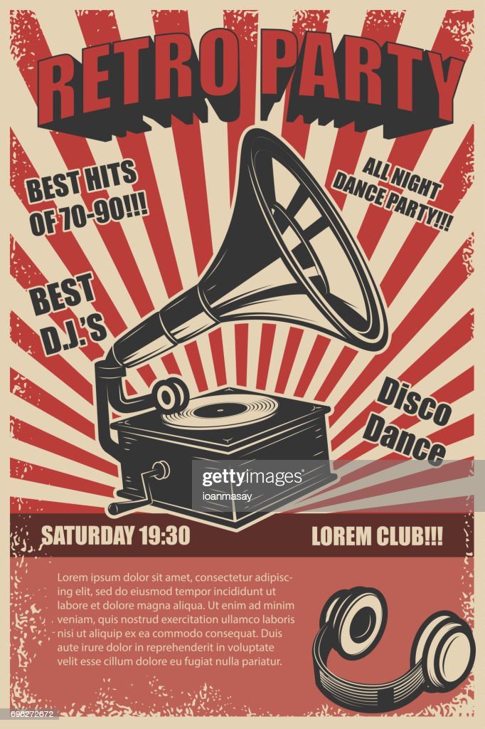 Retro party. Vintage gramophone on grunge background. Design elements for poster. Vector illustration