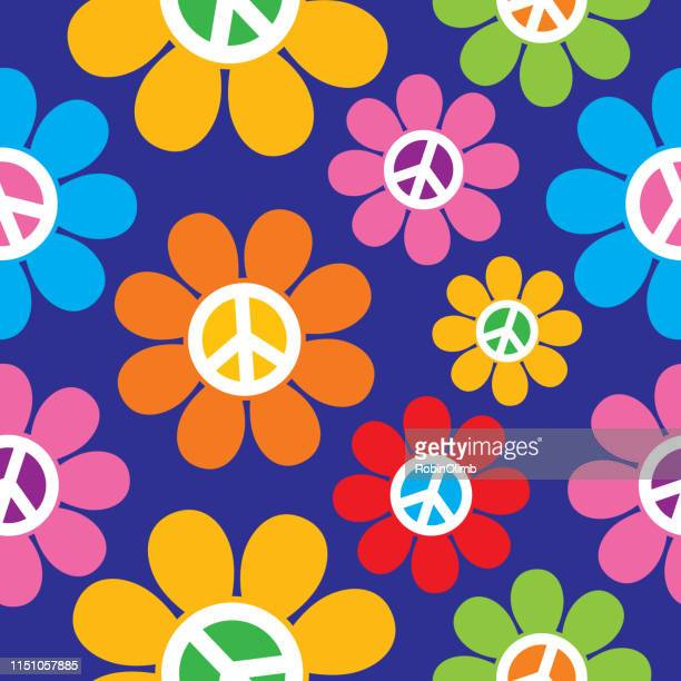 retro peace sign flowers seamless pattern - symbols of peace stock illustrations