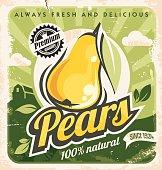 Retro pear poster design